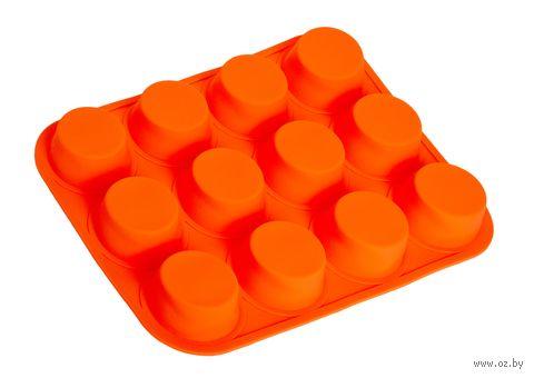 Форма силиконовая для выпекания кексов (330x250x30 мм; красная) — фото, картинка