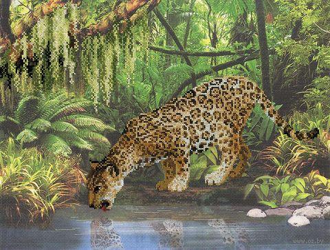 """Вышивка крестом """"Леопард у воды"""""""