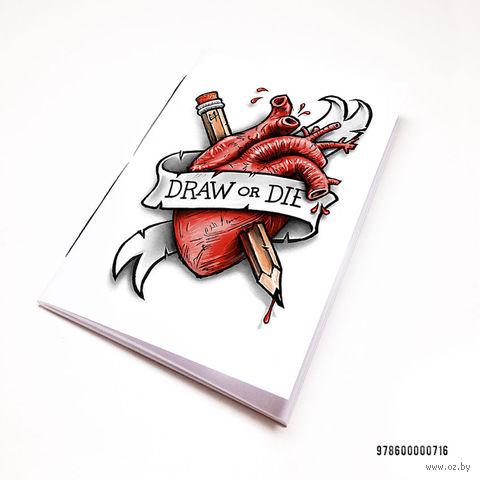 "Блокнот белый ""Draw or Die"" А7 (716)"