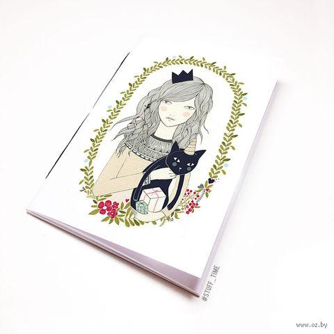 """Блокнот белый """"Девушка с котиком"""" А6 (738)"""