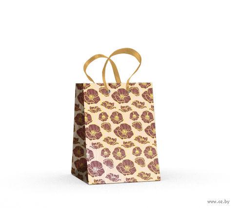 """Пакет бумажный подарочный """"Маки"""" (11,1х13,7х6,2 см) — фото, картинка"""
