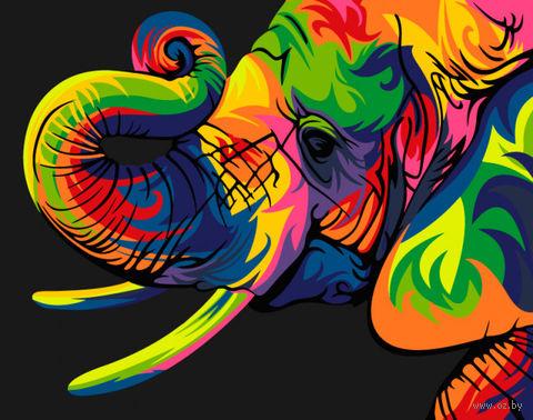 "Картина по номерам ""Радужный слон"" (165х130 мм) — фото, картинка"