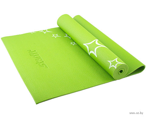 Коврик для йоги FM-102 (173x61x0,6 см; зелёный с рисунком) — фото, картинка
