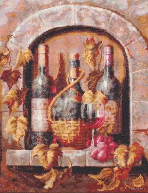 "Вышивка крестом ""Натюрморт с вином"" (260х320 мм) — фото, картинка"