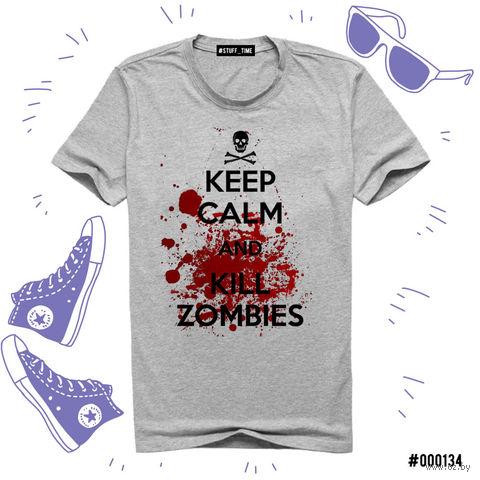 "Футболка серая унисекс ""Kill Zombies"" (S; арт. 134) — фото, картинка"