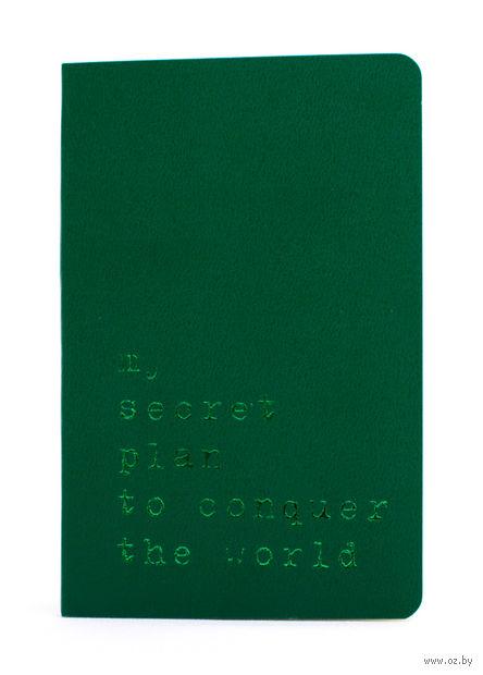 """Записная книжка Молескин """"Volant. My Secret Plan"""" нелинованная (карманная; мягкая темно-зеленая обложка)"""