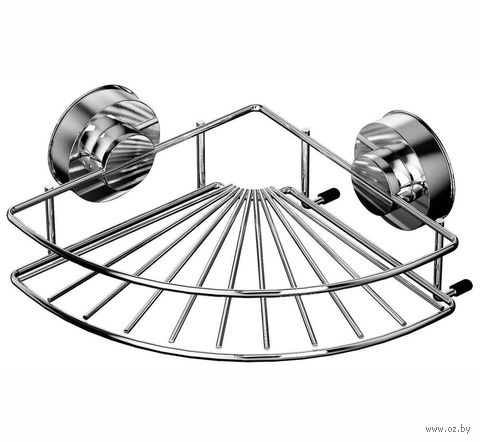 Полка для ванной угловая металлическая на присосках (249х249х94 мм) — фото, картинка