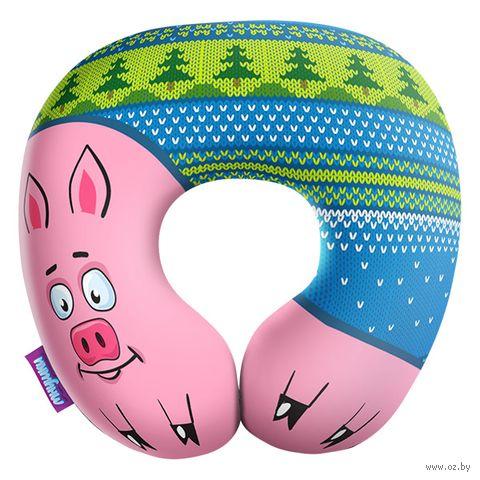 """Подушка под шею """"Подложи свинью"""" (34х34 см; голубая) — фото, картинка"""