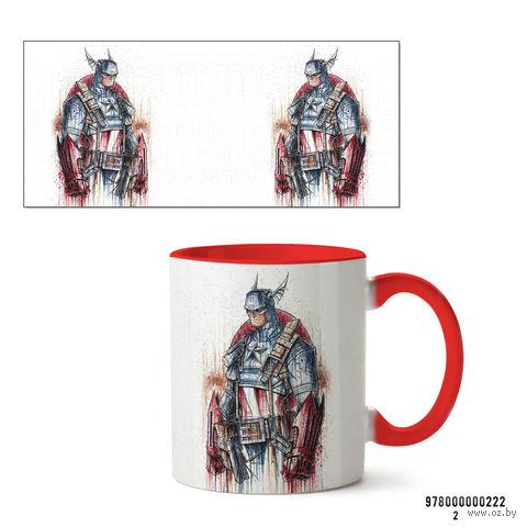 """Кружка """"Капитан Америка из вселенной MARVEL"""" (222, красная)"""