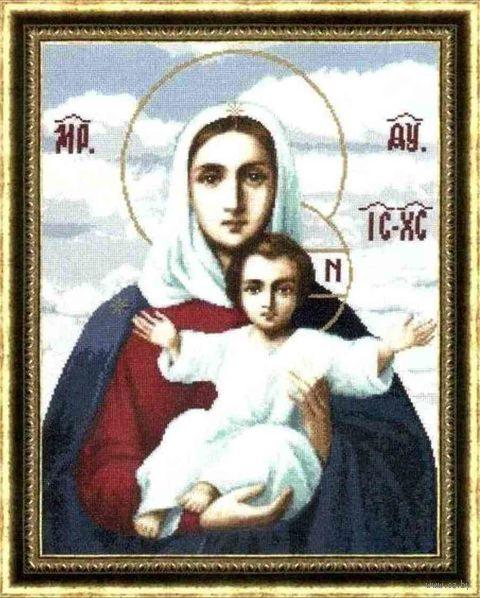 """Вышивка крестом """"Леушинская икона Божией Матери"""" (390x300 мм) — фото, картинка"""