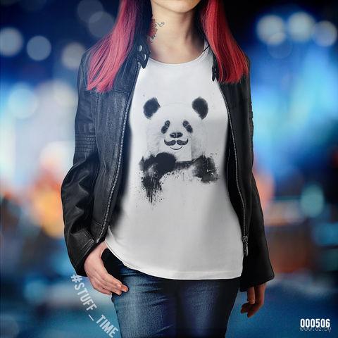 """Футболка женская """"Панда с усами"""" (XS; арт. 506) — фото, картинка"""