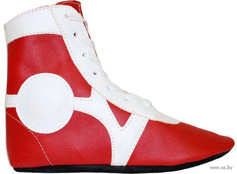 Обувь для самбо SM-0102 (р. 38; кожа; красная) — фото, картинка
