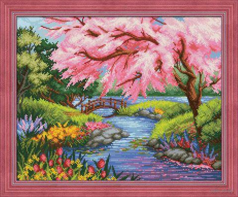 "Алмазная вышивка-мозаика ""Сакура на берегу"" (500х400 мм) — фото, картинка"