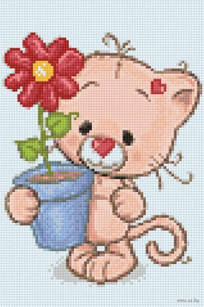 """Алмазная вышивка-мозаика """"Котёнок с подарком"""" (200х300 мм) — фото, картинка"""
