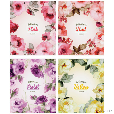 """Тетрадь в клетку 96 листов """"Цветы. Watercolor blossom"""""""