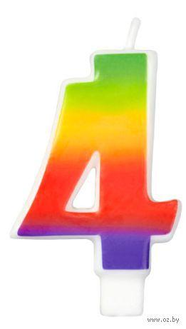 "Свеча для торта радужная ""Цифра 4"" (7,5 см; арт. WLT-2811-1043)"