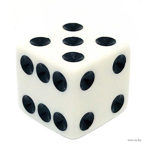 """Кубик D6 """"Простой"""" (16 мм; бело-чёрный) — фото, картинка"""