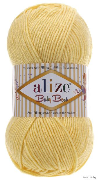 "Пряжа ""ALIZE. Baby Best №250"" (100 г; 240 м; светлый лимон) — фото, картинка"
