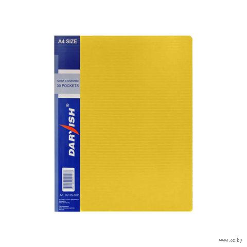 """Папка """"Darvish"""" с прозрачными файлами DV05-30Р (А4; 30 листов; цвет: желтый)"""