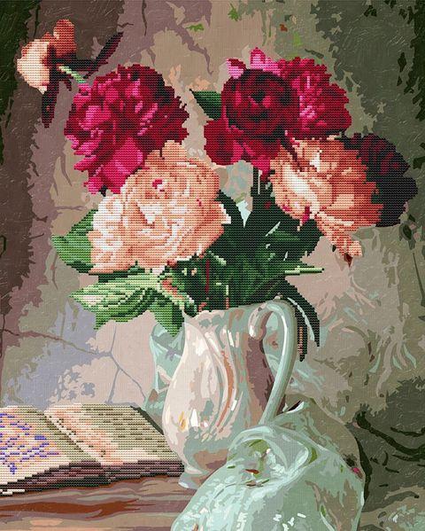 """Алмазная вышивка-мозаика """"Пионы в вазе"""" (400х500 мм) — фото, картинка"""