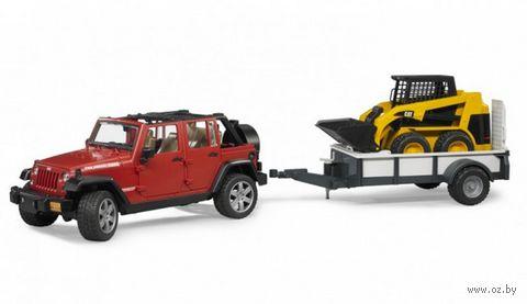 """Модель машины """"Внедорожник Jeep Wrangler с прицепом-платформой"""" (масштаб: 1/16)"""