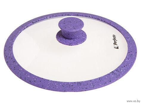 Крышка стеклянная с силиконовым ободом (28 см; мраморный фиолетовый) — фото, картинка