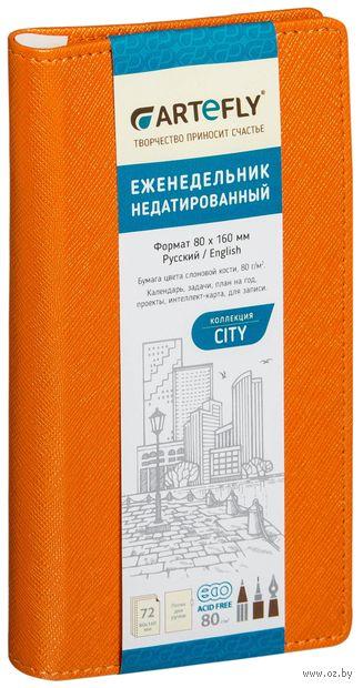 """Еженедельник недатированный """"City"""" (80x160 мм; оранжевый) — фото, картинка"""