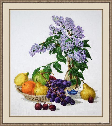 """Вышивка крестом """"Сирень и фрукты"""" (320х370 мм) — фото, картинка"""