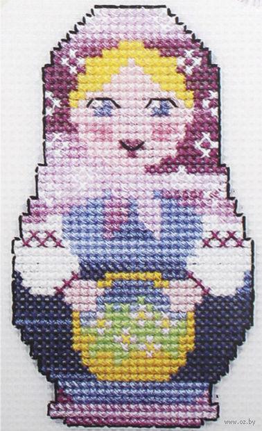 "Вышивка крестом ""Матрешка с цветами"" (140х95 мм) — фото, картинка"