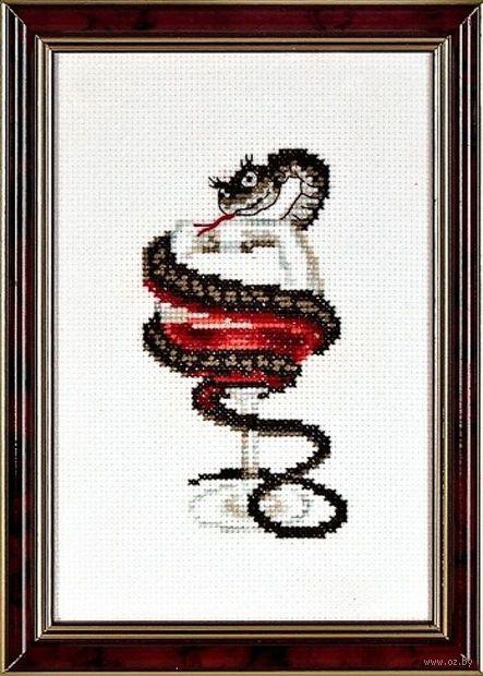 "Вышивка крестом ""Змейка с бокалом"" (60х110 мм) — фото, картинка"