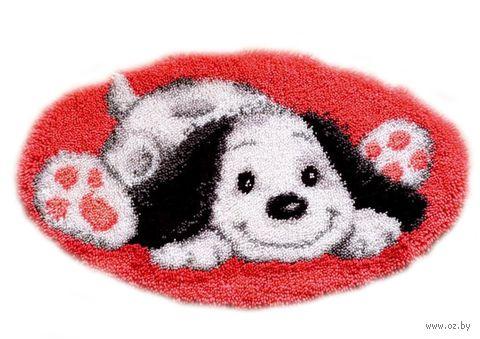 """Вышивка в ковровой технике """"Коврик. Игривая собака"""" (700х400 мм) — фото, картинка"""