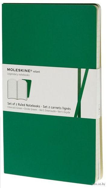 """Записная книжка Молескин """"Volant"""" в линейку (большая; мягкая обложка, цвет: изумрудный; 2 штуки)"""