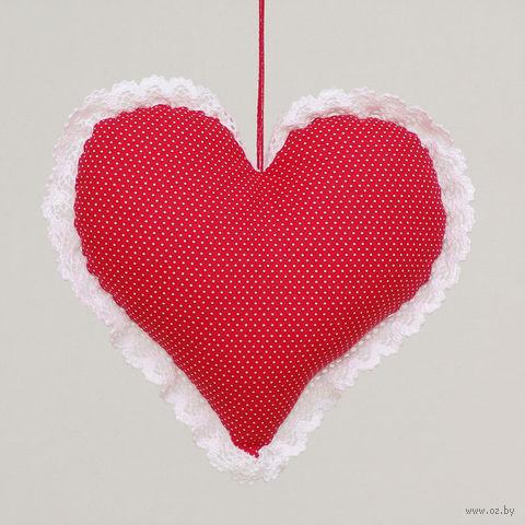 """Украшение ручной работы """"Сердце"""" (красно-белое)"""