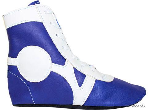 Обувь для самбо SM-0102 (р. 30; кожа; синяя) — фото, картинка