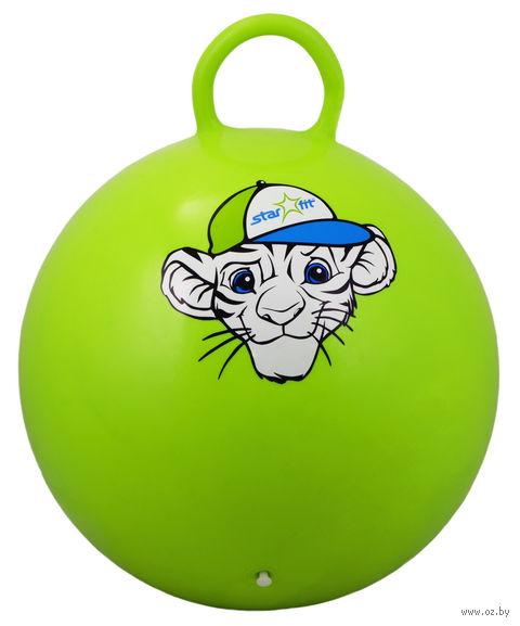 """Мяч-попрыгун """"Тигрёнок"""" (55 см; с ручкой; зелёный) — фото, картинка"""