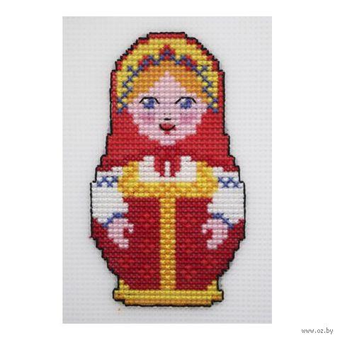 "Вышивка крестом ""Матрешка в кокошнике"" (75х130 мм) — фото, картинка"