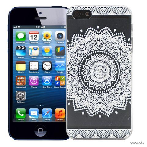 "Чехол для iPhone 5/5S ""Мехенди Круг"" (белый) — фото, картинка"