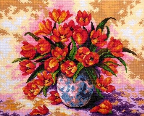 "Алмазная вышивка-мозаика ""Тюльпаны в вазе"" (400х500 мм) — фото, картинка"