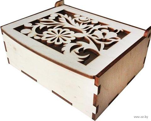 """Заготовка деревянная """"Шкатулка прямоугольная. Цветы"""" (140х105х55 мм) — фото, картинка"""