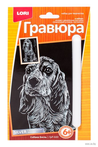 "Гравюра ""Собака Бигль"" (серебро) — фото, картинка"
