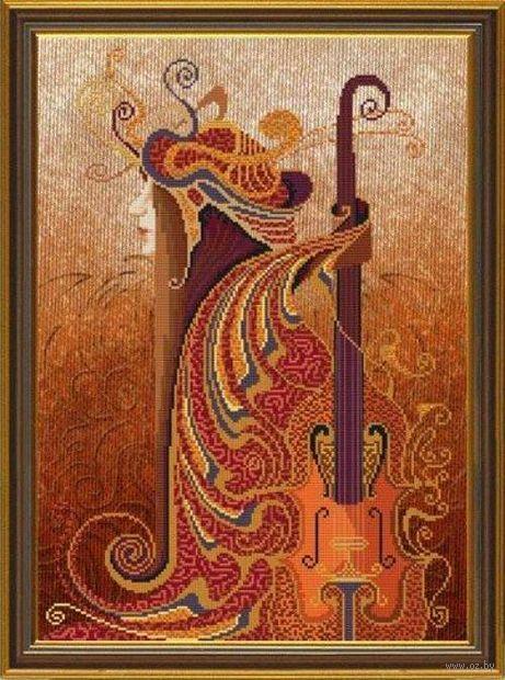 """Вышивка крестом """"Музыка чувств. Скрипка"""" (300x420 мм) — фото, картинка"""