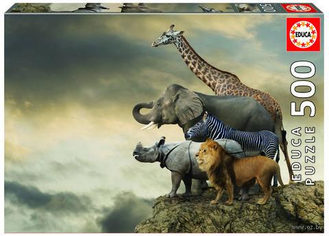 "Пазл ""Животные на краю скалы"" (500 элементов) — фото, картинка"