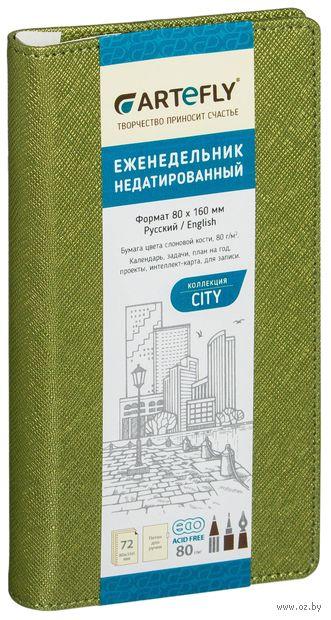 """Еженедельник недатированный """"City"""" (80x160 мм; зеленый) — фото, картинка"""