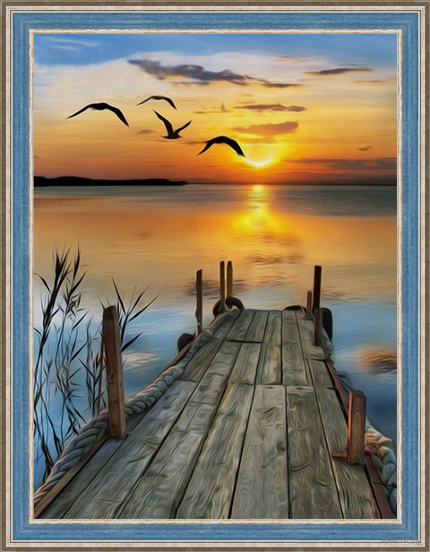 "Алмазная вышивка-мозаика ""Закат на озере"" (300х400 мм) — фото, картинка"