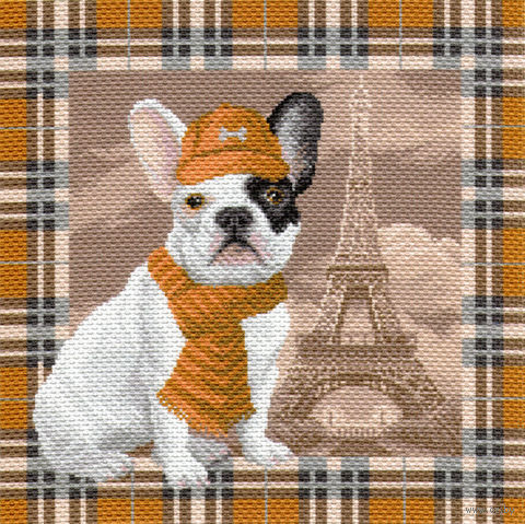 """Канва с нанесенным рисунком """"Французский бульдог в Париже"""""""