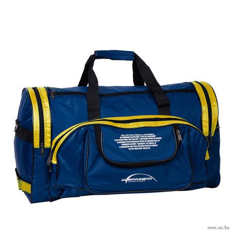 Сумка спортивная П01 (55 л; сине-жёлтая) — фото, картинка