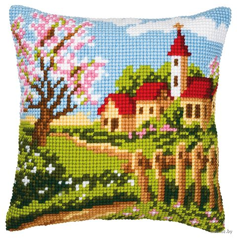 """Вышивка крестом """"Подушка. Весна в деревне"""" (400х400 мм) — фото, картинка"""