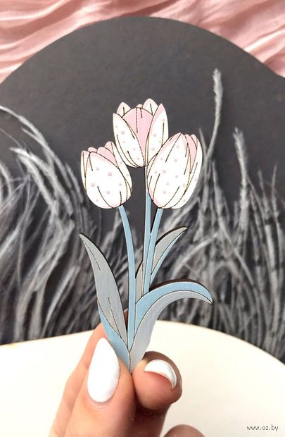 """Брошь """"Букет тюльпанов"""" (арт. 277-6) — фото, картинка"""