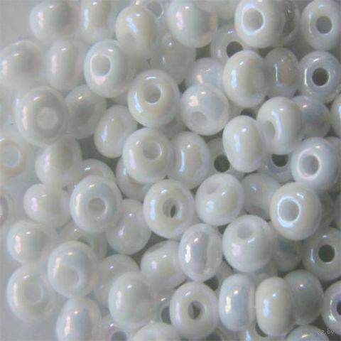 Бисер №46205 (белый; радужный; 10/0) — фото, картинка