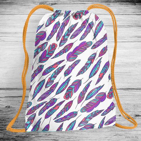 """Рюкзак-мешок """"Разноцветные перья"""" (арт. 14) — фото, картинка"""